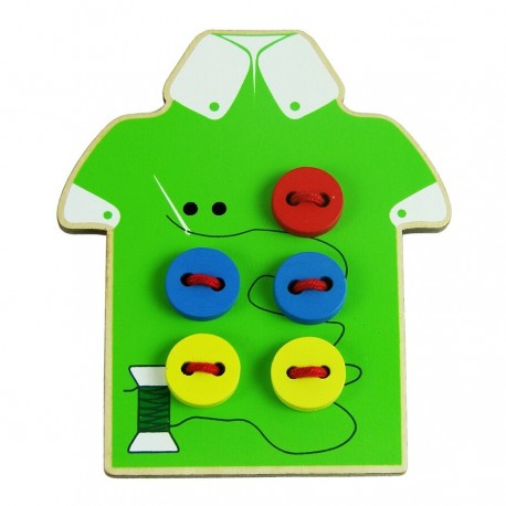 Little B House Wooden Sew-on Buttons Lacing Board String Clasp Threading Button Up Board Game - BT29