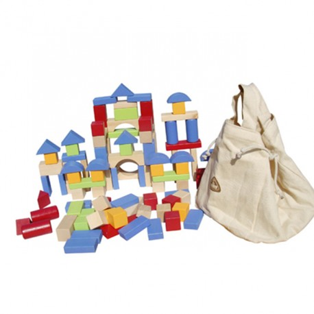 Little B House 100 pieces Wooden Building Blocks Set with Carrying Bag - BT26