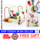 Little B House Early Learning Wooden Toy Bead Stringing Building Blocks - BKM28