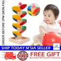 Little B House Colorful Wooden Spiral Tree Leaves Tower Build Ball Game - BT51