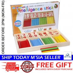 [Little B House] Wooden Mathematical Intelligence Stick Number Cards and Counting Rods with Box - BKM33