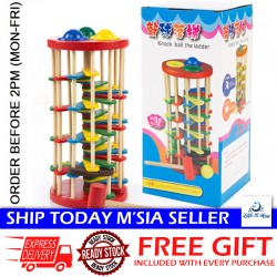 [Little B House] Wooden Colorful Knocking Ball Fall the Ladder Puzzle Toy - BT60