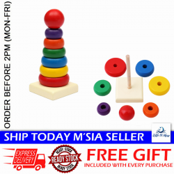 [Little B House] Wooden Stacking Stack Up Colorful Rainbow Tower Toys - BT100