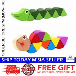 [Little B House] Colorful Wooden Crocodile / Caterpillar Toys for Kids - BT156