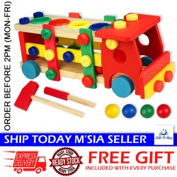 [Little B House] Wooden Buillding Blocks Screw Nut Car Removable Toy Baby Educational Toys - BKM30