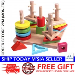 Little B House Educational Building Blocks,Geometry Layers of Stacked 5 Column Set Wooden Toys - BKM32