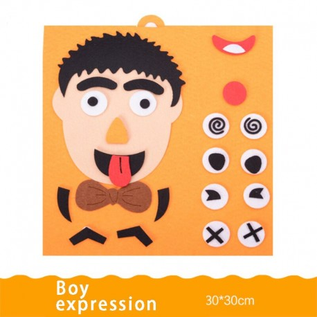Little B House Children's Facial Expression Puzzle Non-woven Material Package Toy Change Expression Toy - BT222