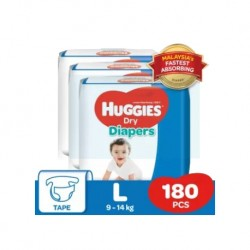 Huggies Dry Diapers (L60 x 3) Super Jumbo Pack