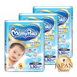 MamyPoko Extra Dry Skin Tape L (9-14kg) 50 X 3 packs 150 Pcs