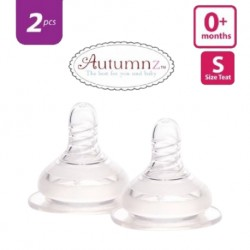 Autumnz Soft Silicone Teat SLOW Flow *2pcs* (0+ months / Round Hole)