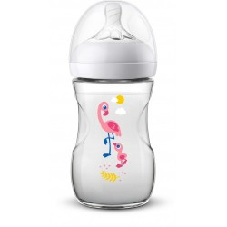Philips Avent Natural Bottle 9oz/260ml (Single Pack) - Flamingo Design