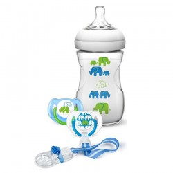 Philips Avent Elephant Gift Set (Boy) Natural 9oz/260ml Slow Flow Nipple