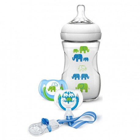 Elephant Gift Set (Boy) Natural 9oz/260ml Slow Flow Nipple