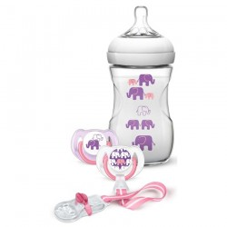 Philips Avent Elephant Gift Set (Girl) Natural 9oz/260ml (Slow Flow Nipple)