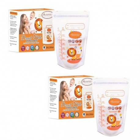 Autumnz Double ZipLock Breastmilk Storage Bag *12oz* (25 bags-Twin Pack)