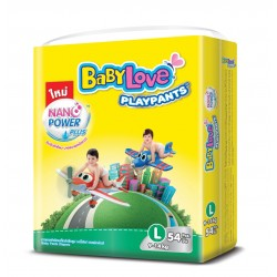 Baby Love Diapers Play Pants Nano Power Plus - L 54pcs (4 Packs)