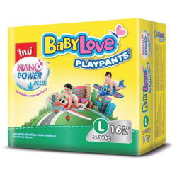 Baby Love Diapers Play Pants Nano Power Plus Regular Pack - L16 (12 Packs)