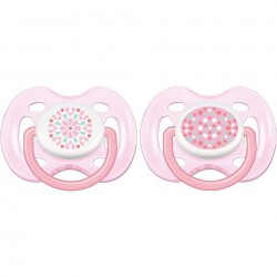 Philips Avent Contemporary Free Flow Soother 0-6 Months (Twin Pack) Girl