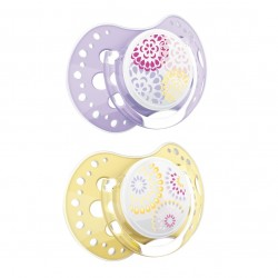 'Lovi 2Pcs Dynamic Soother (Trendy) 0-3 - Purple  and  Yellow'