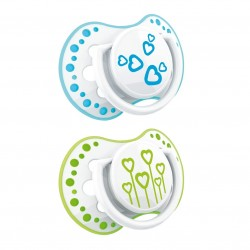 'Lovi 2Pcs Dynamic Soother (Basic) 3-6m - Blue  and  Green'