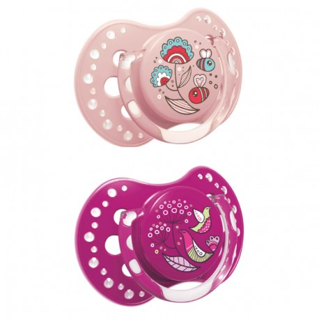 Lovi Dynamic soother silicone 3-6 months (2 pcs) Folky-Pink