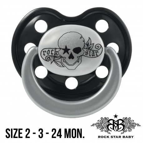 Silicone Pacifiers Ortho - TATTOO PIRATE (Pearl/Black)