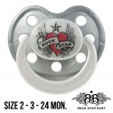 Rock Star Baby Silicone Pacifiers Ortho - HEART & WINGS (Pearl/Silver)