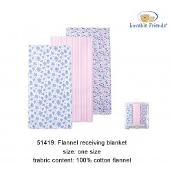 Luvable Friends Flannel Receiving Blanket - Girl (3pcs)