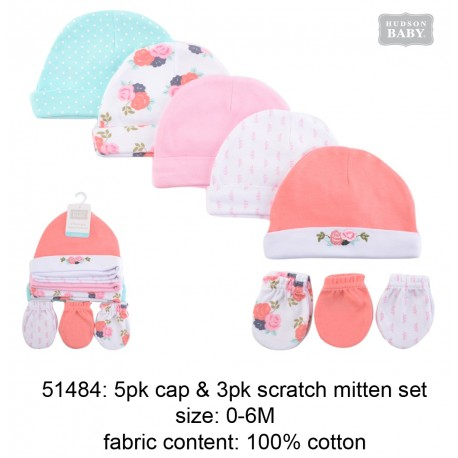 Hudson Baby 5pcs Caps and 3pairs Scratch Mitten Set - Pink