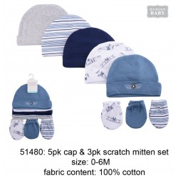 Hudson Baby 5pcs Caps and 3pairs Scratch Mitten Set - Blue Multicolor