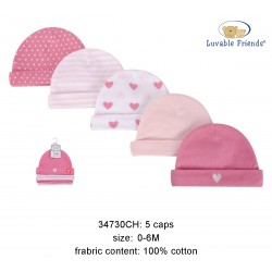 Luvable Friends Caps - Girl Hearts (5pcs)