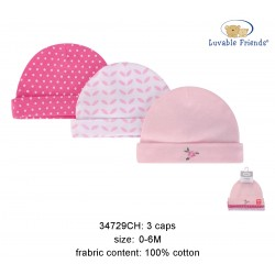 Luvable Friends Caps - Pink Floral (3pcs)