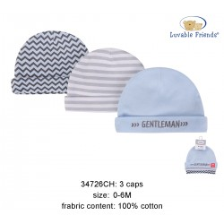 Luvable Friends Caps - Gentleman (3pcs)