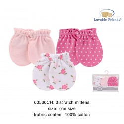 Luvable Friends Scratch Mittens - Flower (3sets)