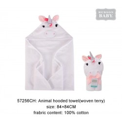 Hudson Baby Animal Face Hooded Towel Woven Terry - Rainbow Unicorn