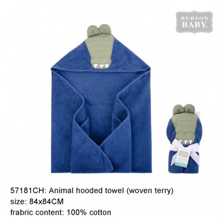 Hudson Baby Animal Face Hooded Towel Woven Terry - Alligator