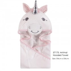 Hudson Baby Animal Face Hooded Towel Woven Terry - Unicon Silver