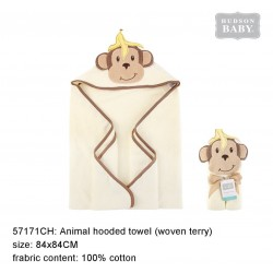 Hudson Baby Animal Face Hooded Towel Woven Terry - Badana Monkey