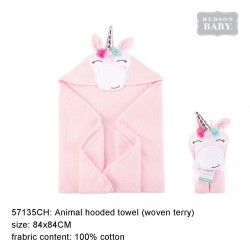 Hudson Baby Animal Face Hooded Towel Woven Terry - Whimsical Unicorn