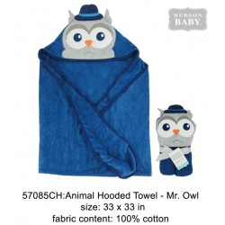 Hudson Baby Animal Face Hooded Towel Woven Terry - Mr.Owl