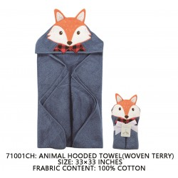 Little Treasure Animal Face Hooded Towel Woven Terry - Fox Blue