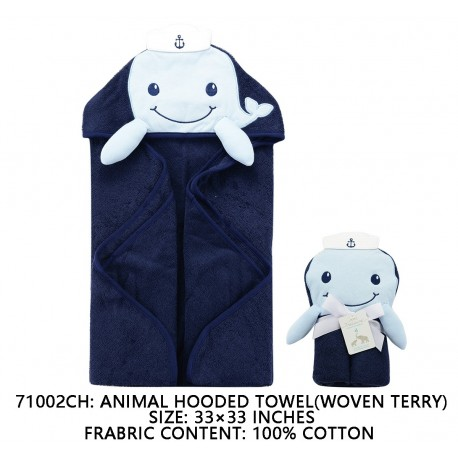 Little Treasure Animal Face Hooded Towel Woven Terry - Dophine Blue