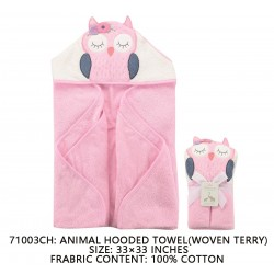 Little Treasure Animal Face Hooded Towel Woven Terry - Owl Pink
