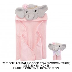 Little Treasure Animal Face Hooded Towel Woven Terry - Elephant Pink