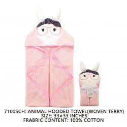 Little Treasure Animal Face Hooded Towel Woven Terry - Sheep Pink