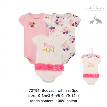 Little Treasure Hangging Short Sleeve Baby Suits Interlock- Mama's Mini (3pcs)