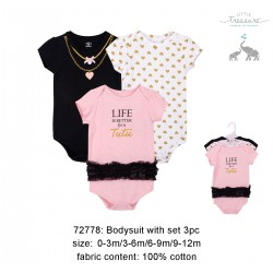 Little Treasure Hangging Short Sleeve Baby Suits Interlock - Life in Tutu (3pcs)