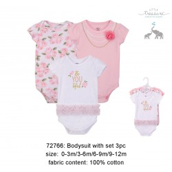 Little Treasure Hangging Short Sleeve Baby Suits Interlock - Beautiful (3pcs)