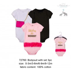Little Treasure Hangging Short Sleeve Baby Suits Interlock - Fabulous (3pcs)