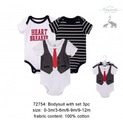 Little Treasure Hangging Short Sleeve Baby Suits Interlock - Heart Breaker/Black (3pcs)
